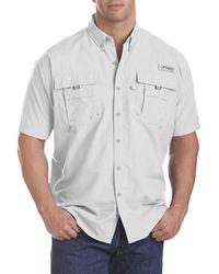 Columbia Big & Tall Pfg Bahama Ii Short-sleeve Sport Shirt - White