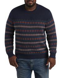 Nautica Big & Tall Fair Isle Crewneck Sweater - Blue