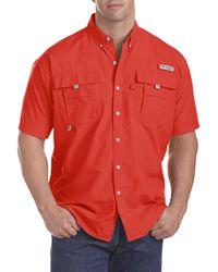 Columbia Big & Tall Pfg Bahama Ii Short-sleeve Sport Shirt - Red