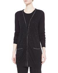 Badgley Mischka - Shimmery Long Cardigan Sweater - Lyst