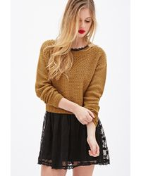 Forever 21 Chunky Knit Boxy Sweater - Lyst