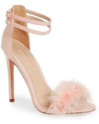 Topshop | Reese Faux-Leather and Feather Sandals | Lyst