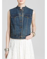 Free People Vest - Rugged Ripped Denim Lace Up - Lyst