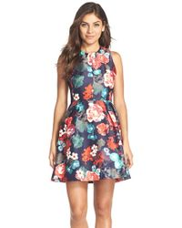 Kaya & Sloane | Floral Print Woven Fit & Flare Dress | Lyst