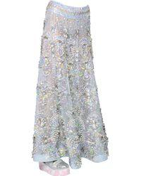Manish Arora Embellished Iridescent Organza Skirt - Blue