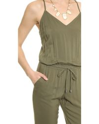 Splendid - Woven Cami Jumpsuit - Dusty Olive - Lyst