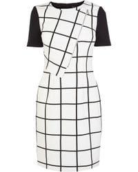 Karen Millen Graphic Check Collection Dress - Lyst