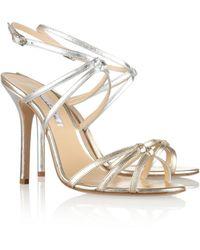 Oscar de la Renta Hudson Metallic Leather Multi-Strap Sandals
