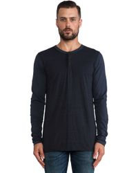 Ever Long Sleeve Contrast Henley - Lyst