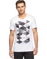 Calvin Klein V-Neck Photographic Print Slim-Fit T-Shirt - Lyst