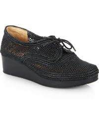 Robert Clergerie Lace-Up Raffia Platform Loafers - Lyst
