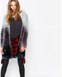 ELEVEN PARIS - Reversible Coat In Faux Fur Degrade - Lyst