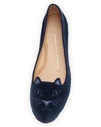 Charlotte Olympia Capri Cats Velvet Slipper - Lyst