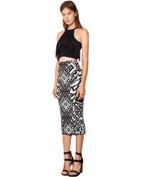 Torn By Ronny Kobo Ronny Jacquard Midi Skirt In Ebony Geo Print - Lyst