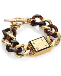 Michael Kors Tortoise-Print Plaque Toggle Chain Bracelet - Lyst