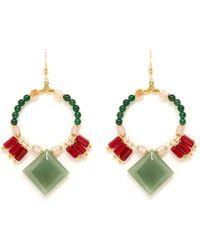 Scho Jade Rhombus Crystal Hoop Earrings - Multicolor
