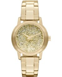DKNY Watch Womens Gold Ion Plated Stainless Steel Bracelet 32mm - Lyst