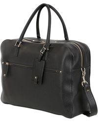 Valentino Embossed Leather Briefcase - Black