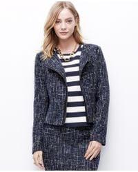 Ann Taylor Faux Leather Trim Tweed Jacket - Lyst