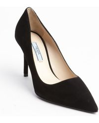 Prada Black Suede Pointed Toe Pumps - Lyst
