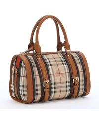 Burberry Chocolate Leather Trimmed Check Canvas 'Alchester' Medium Bowling Bag - Lyst