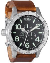 Nixon Black Saddle Leather 51-30 Chrono Watch black - Lyst
