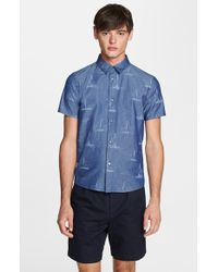 A.P.C. 'Biarritz' Extra Trim Fit Short Sleeve Chambray Sport Shirt - Lyst