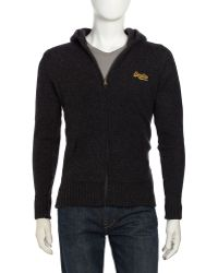 Superdry Wool Hooded Sweater - Lyst