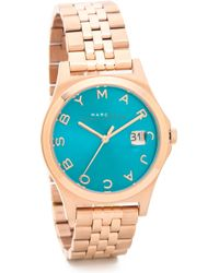 Marc By Marc Jacobs The Slim Watch Rose Golddeep Sea Turquoise - Lyst