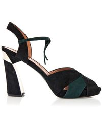 Marni Suede Peep-Toe Sandals - Lyst