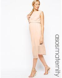 Asos Maternity Midi Drape Shift Dress - Lyst