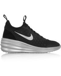 Nike Lunarelite Sky Hi Canvas And Suede Wedge Sneakers - Lyst