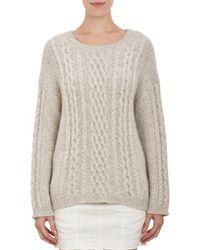 Nili Lotan Mixed-Stitch Fisherman Sweater - Lyst