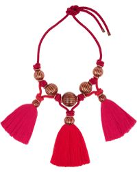 Lanvin - Tassled Enameled Bead Necklace - Lyst