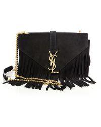 9b5f125bc50c small monogram saint laurent fringed crossbody bag in black leather