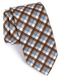 Maker & Company Plaid Cotton & Silk Tie - Blue