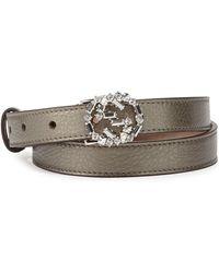 Gucci Crystal-gg-buckle Skinny Belt - Lyst
