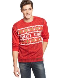 American Rag Red Fruitcake Sweater - Lyst