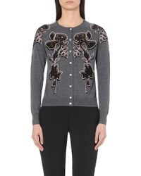 Paul Smith Black Label - Floral-embroidered Wool Cardigan - Lyst