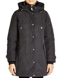 DKNY Faux Fur Collar Parka - Black