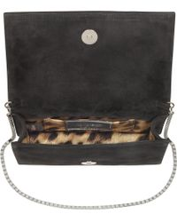 Roberto Cavalli Starlight Suede and Crystal Clutch - Lyst