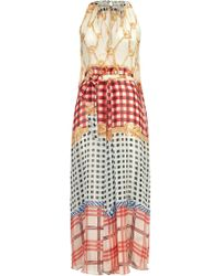 Temperley London Long Coralie Check V-Neck Dress red - Lyst