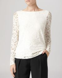 Reiss Top Dellah Long Sleeve Lace - Lyst