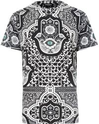 River Island Black Jaded Hamsa Printed T-shirt - Lyst