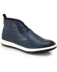 Giorgio Armani Printed Leather Chukka Sneakers - Lyst
