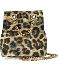 Roccobarocco | Burlesque Animal Print Eco Leather Mini Bucket Crossbody Bag | Lyst