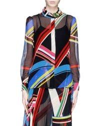Preen 'Vali' Multi Stripe Print Blouse multicolor - Lyst