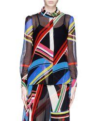 Preen 'Vali' Multi Stripe Print Blouse - Lyst