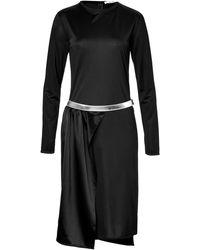 Paco Rabanne Satin Dress with Metallic Belt - Lyst
