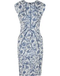 Lela Rose Blue Floral-jacquard Dress - Lyst